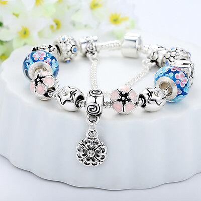 European 925 Silver Charms Bracelet DIY With Flower Bead Women Christmas Jewelry 2