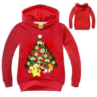 Natale Tema Bambino Felpe Con Cappuccio Giacca Top Vestiti 5
