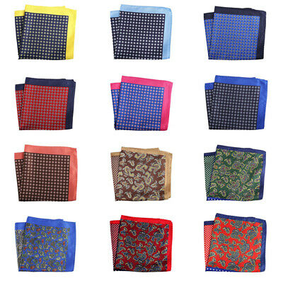 32cm Unisex Handkerchief Paisley Floral Plaids Prints Soft Thin Pocket Square 3