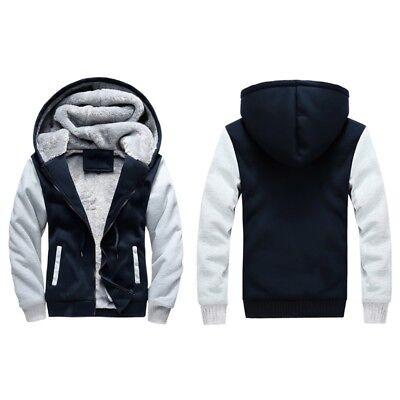 Men's Winter Thick Warm Hoodie Jacket Male Wool Coat Lining Casual Outwear M-5XL 2