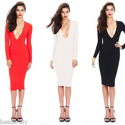 f467d3b0e2da ... Women Slim Long Sleeve Bodycon V-neck Low-cut Vest Party Cocktail Pencil  Dress