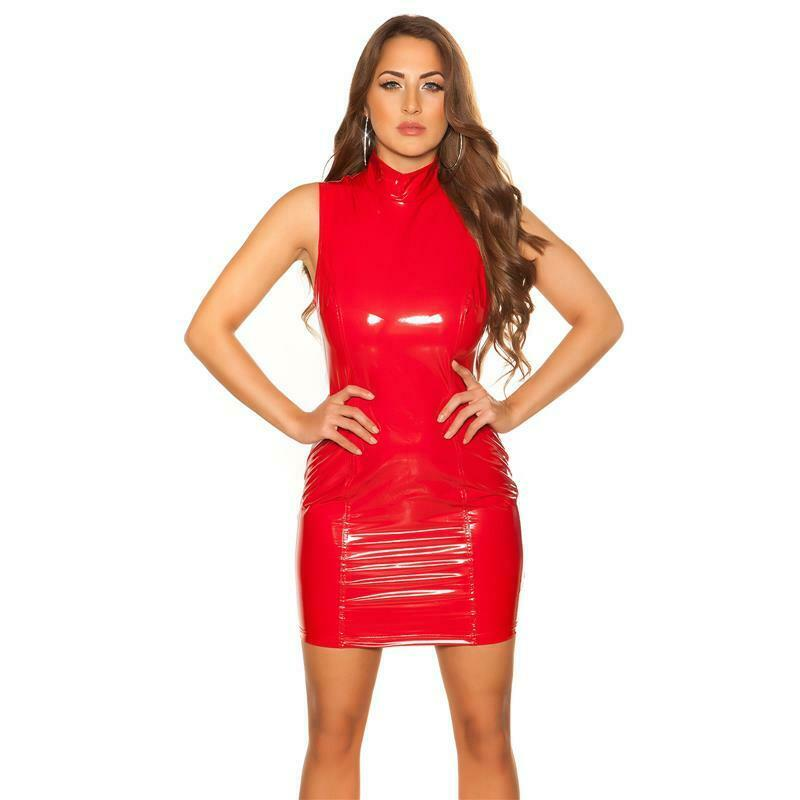 Sexy Club Minikleid in Latex-Look mit Stehkragen Rot #GW851 6