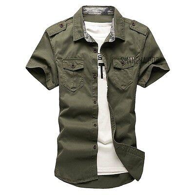 Men's Casual Short Sleeve Cargo T-shirts Military Dress Shirt Double Pockets New 2