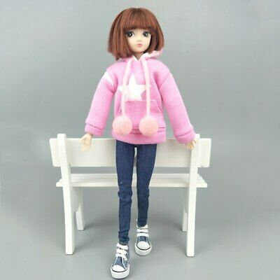 """Pink Star Sweatshirt Coat For 11.5"""" 1/6 Doll Clothes Outfits Pants Canvas Shoes 6"""