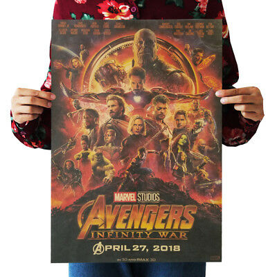 Avengers 4 & 3 Infinity War Movie Thanos Iron Man Kraft Paper Posters Picture 8