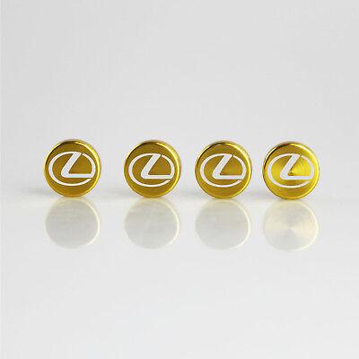 Laser Etched 4 Rose Gold Aluminum Lexus License Plate Frame Fastener Screws Cap