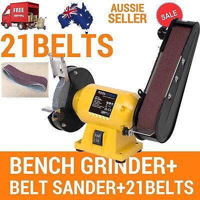 Free 21 Belts 150Mm Bench Grinder Linisher Sanding Grinding Wheel Belt Sander 8