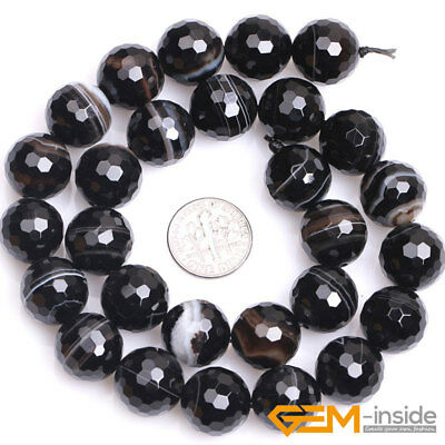 """Natural Faceted Gemstone Black Stripe Agate Round Beads For Jewelry Making 15""""Y 11"""