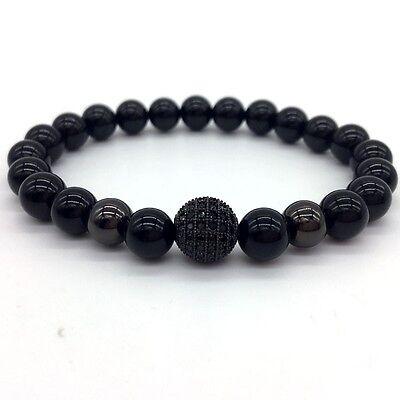 Jewellery & Watches Charm Men Bracelet 8mm Hematite Beads Pave Black CZ 10mm Ball Charm Bracelets Fashion Jewellery