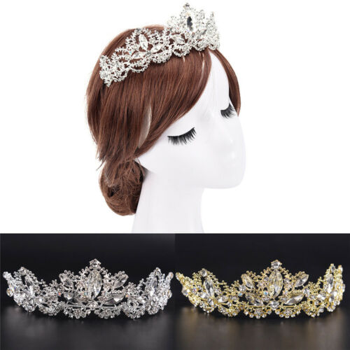 Rhinestones Baroque Bridal Crown Tiara Wedding Bride Hair Headdress FlowerKingVy