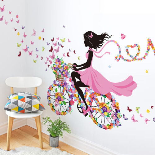 1 fahrrad blumen m dchen wandaufkleber wandsticker wandtattoo kinderzimmer deko eur 3 56. Black Bedroom Furniture Sets. Home Design Ideas