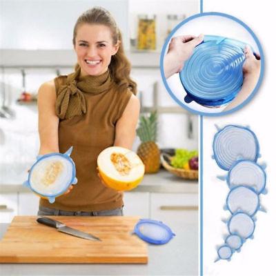Stretch Reusable Silicone Bowl Wraps Food Saver Cover Seal Lids NSTA LIDS 6 PCS 3