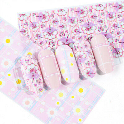 Holographic Flower Nail Foils Decal Nail Art Transfer Stickers Decoration Tips 4