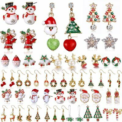 Fashion Women Christmas Earrings Enamel Crystal Drop Dangle Ear Stud Ear Hook 2