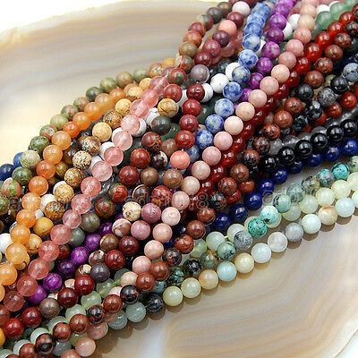 """Natural Gemstone Smooth Round Loose Beads 15""""  4mm 6mm 8mm 10mm 12mm 3"""