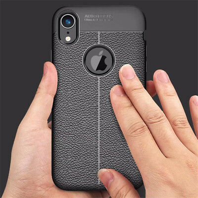 For iphone Xs Max Xr X 8 7 6S Silicone Rubber TPU Leather Slim Back Cover Case 4