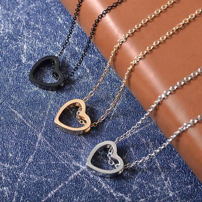 Women Heart Charm Necklace Pendant Choker Chain Gold Silver Black Jewelry Gift 5