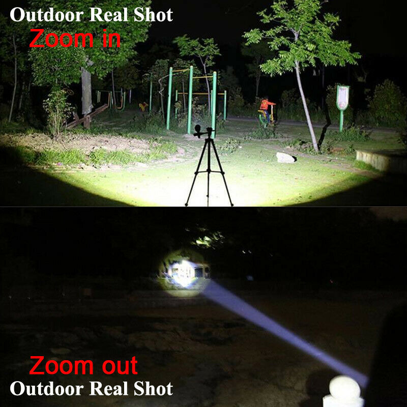 90000LM Tactical T6 Zoomable LED Flashlight Torch Light +18650 Battery + Charger 11