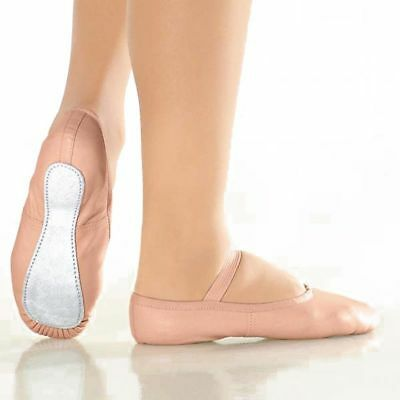 Ballet Dance Slippers Gym Shoes Sizes Full Sole Beige / Pink Leather UK SELLER