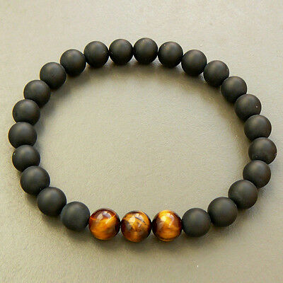 Mens Black AAA Matte Onyx & Tiger Eye Yoga Beaded Stretch Bracelet Gift for Him 2