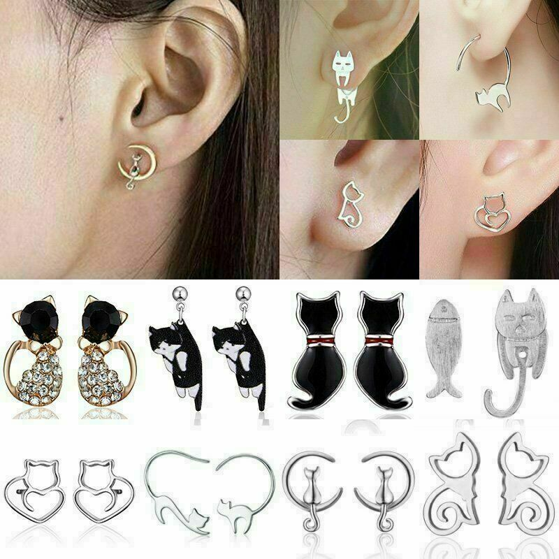 Stainless Steel Crystal Pearl Cute Cat Animal Ear Stud Earrings Women Jewelry 2