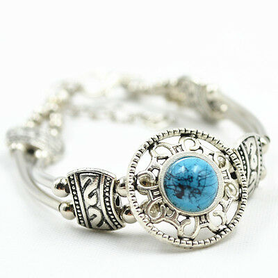 Adjust Bracelet  Woman Fashion Jewelry Tibetan Silver Pld Turquoise Bead Bangle 7