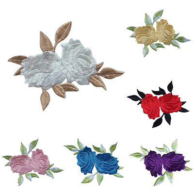 Rose Flower Leaves Embroidery Iron On Applique Patch  abordada apliques xc 4
