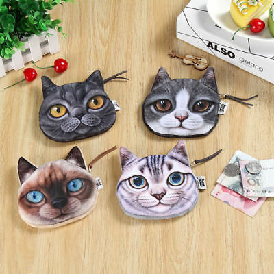 3D Cute Cat Dog Face Shiny Eyes Zipper Xmas Case Card Coin Money Purse Wallets 4