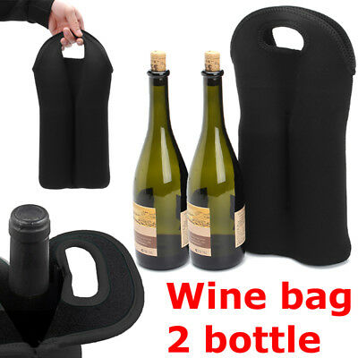 1pc Carry 2 Bottle Thermal Insulated Neoprene Wine Bottle Carry Bag Container AU 2