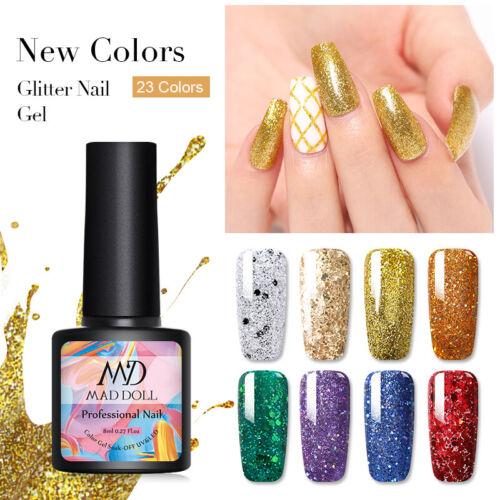 MAD DOLL 8ml Nail Glitter Sequins UV Gel Polish Soak Off Nail Art Varnish Decors 7