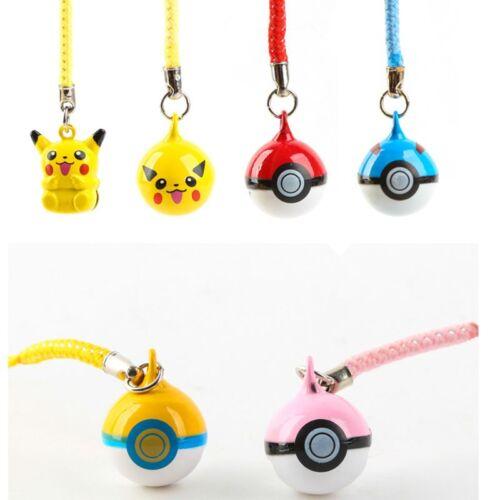 1Pc Pikachu Pokemon Ball Cell Phone Charm Strap JINGLE BELLS Dangle Figures New