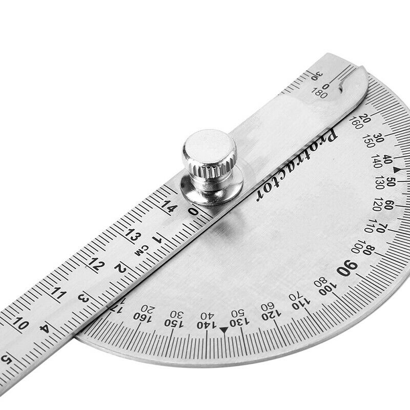 15cm 180 Degree Adjustable Protractor multifunction stainless steel angle rulerF 3