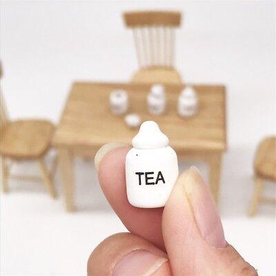 4 Dollhouse Miniature Wood Kitchen Food Sugar Flour Tea Rice Jars Pot 1/12 Decor 3