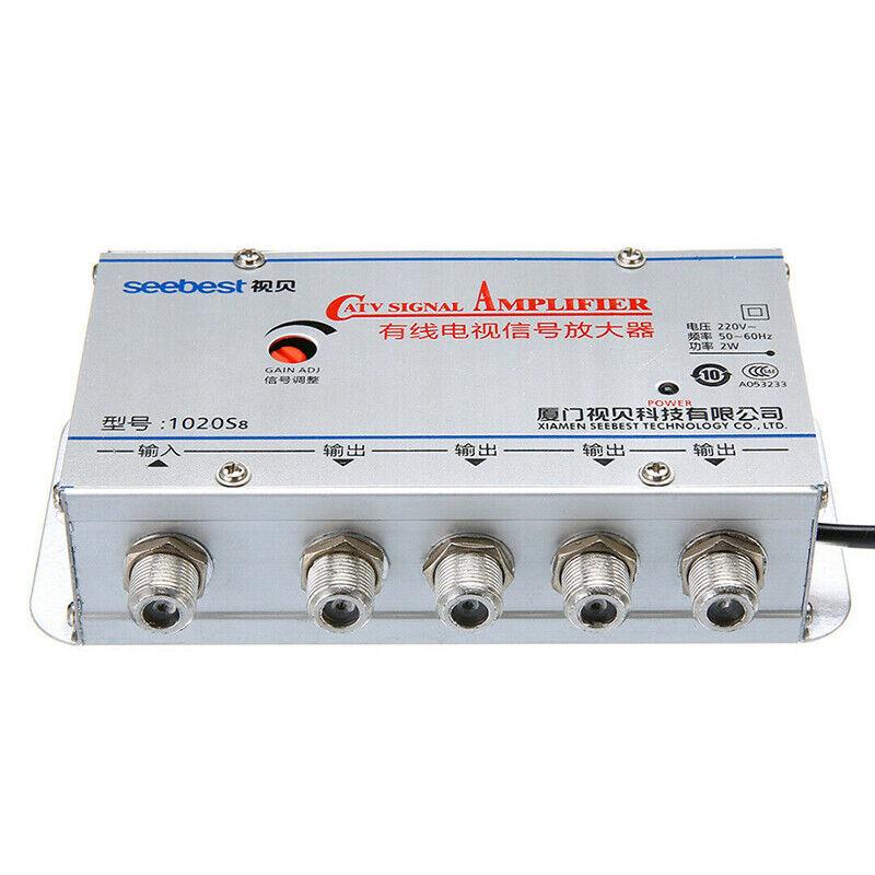 4-Way Port HDTV TV Antenna Signal Amplifier TV CATV Cable Booster SplitterTPCA 3