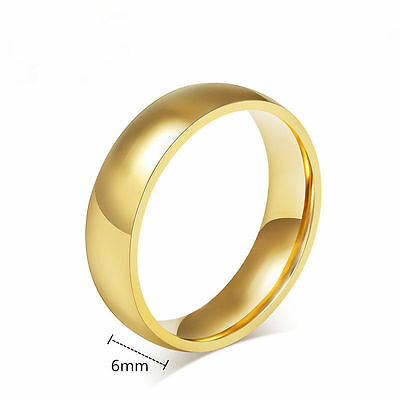 316L Stainless Steel Wedding Silver/Gold Band Men Women Couple CZ Ring Size 5-13 6