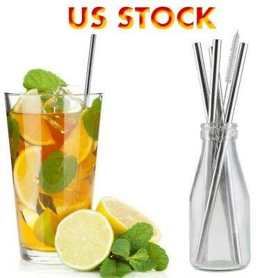 4 Straight Reusable Drinking Straws Metal Stainless Steel Eco-Friendly 10.5in 10