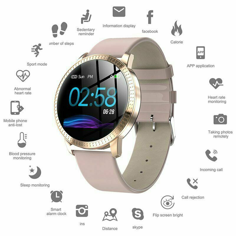 Waterproof Smart Watch Fitness Tracker Blood Pressure Heart Rate Tempered Mirror 2