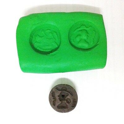 Rare Old Near Eastern Intaglio Animal Guy Carving 2 Side Black Bead Stone Stamp 3