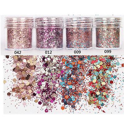10ml Purpurina Para Uñas Polvo Rosa Rojo combinado lentejuelas decoración 1box