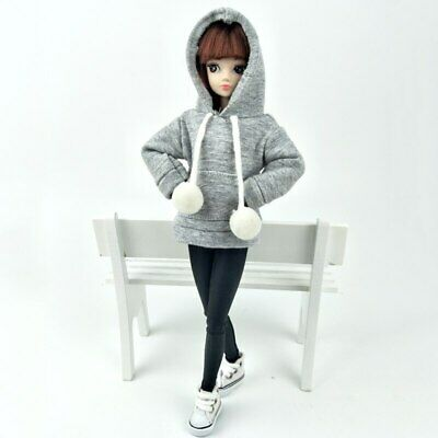 """Gray Sweatshirt Coat For 11.5"""" Doll Clothes Outfits Pants Canvas Shoes 1/6 Toy 5"""
