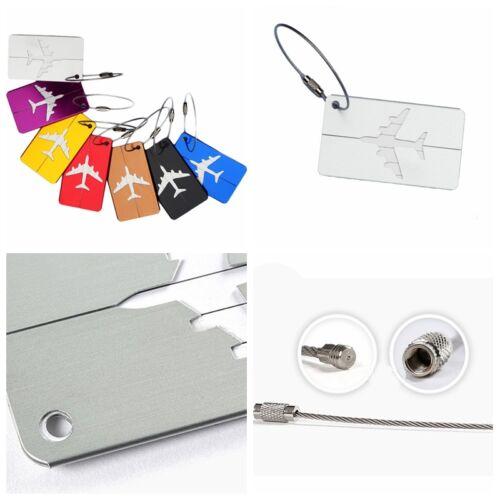 Étiquette Bagages Luggage Aluminium Porte Carte ID Nom Tag Valise Sac Voyage NF 3