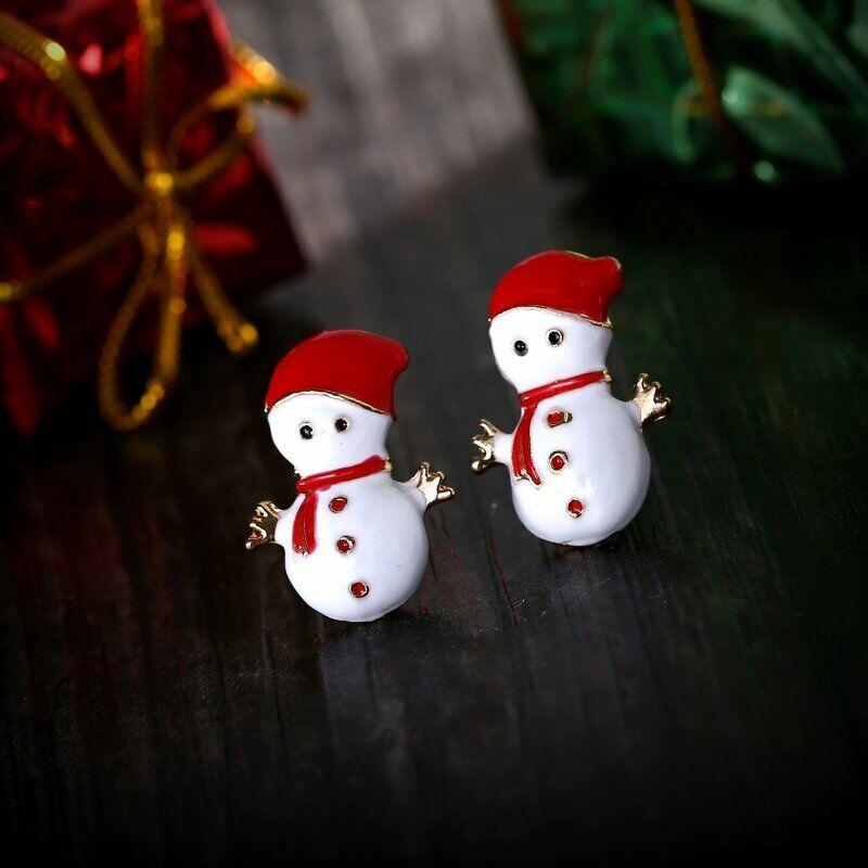 Fashion Women Christmas Earrings Enamel Crystal Drop Dangle Ear Stud Ear Hook 10