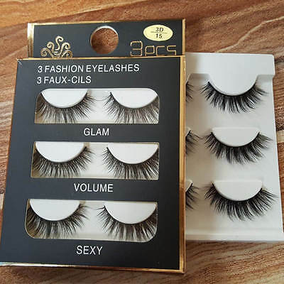 3 Pairs 100% Real 3D Mink Makeup Cross False Eyelashes Eye Lashes Handmade /bw 2
