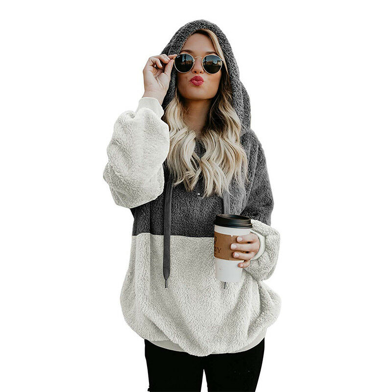 Womens Winter Warm Faux Fur Teddy Bear Sweatshirt Hoodie Hooded Tops Pullover US