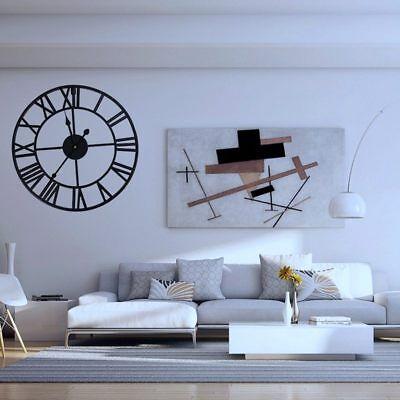 Large Metal Skeleton Roman Numeral Wall Clock Black Round & Square Shape 40/60cm 7