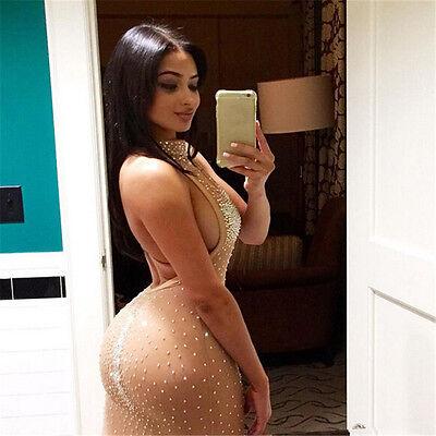 sexy donna aderente Trasparente Festa INFORMALE da sera mini abito corto