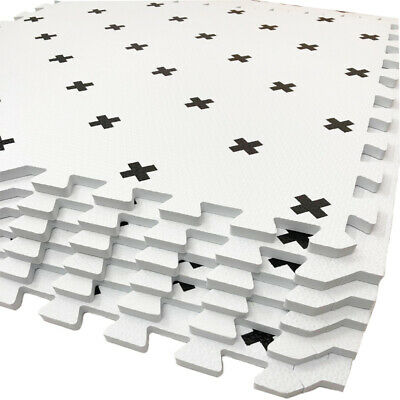 Grey & White Mat Kids Living Room Play Yoga Gym Exercise Gym Fitness Rug Carpet 8