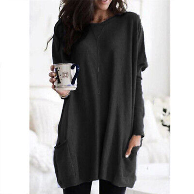 Women Long Sleeve Pocket Autumn Tunic Tops Loose Casual Blouse T-Shirt Plus Size 8