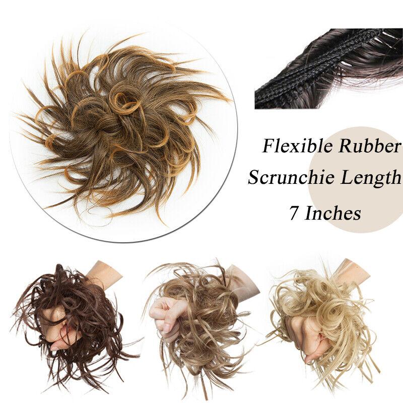 100% REAL Messy Bun Scrunchie Hair Extension Ponytail As Human Hair Piece Blonde 4