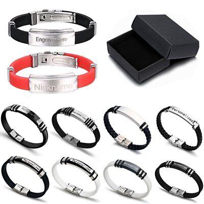 Personalised Mens Leather Bracelet Engraved Birthday Wedding Dad Boyfriend Gifts 3